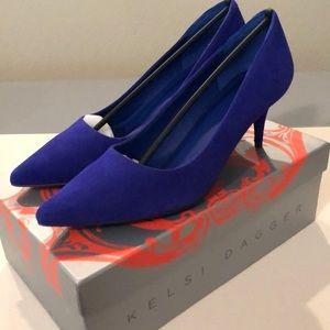 New Kelsi Dagger blue suede heels.